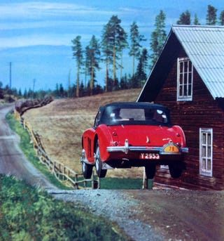 Illustration for article titled Austin Healey 100-6 in the 1956 Swedish Rally