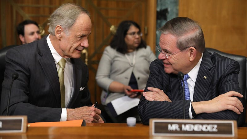 Democratic members of the Senate Finance Committee Tom Carper and Robert Menendez in October of 2018, who took $143,550 and $188,763 respectively from Big Pharma in 2018