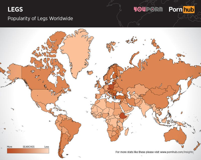 Maps Show Which Body Parts In Porn Are The Most Popular Across The - Pornhub porm map of us