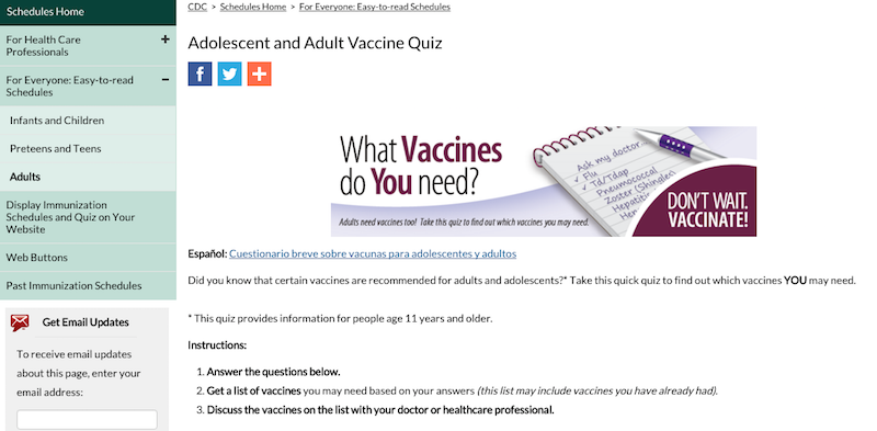 Illustration for article titled The CDC's Vaccine Quiz Tells You Which Vaccines to Get as an Adult