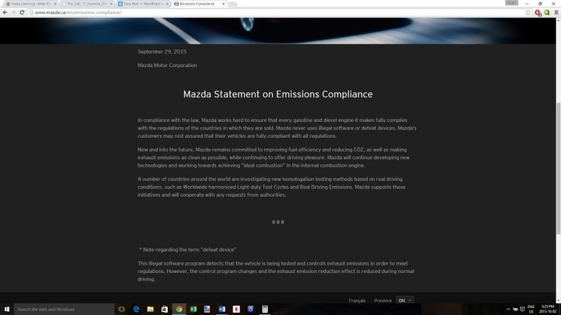Illustration for article titled Mazda Canada Has Issued a Statement on Emissions