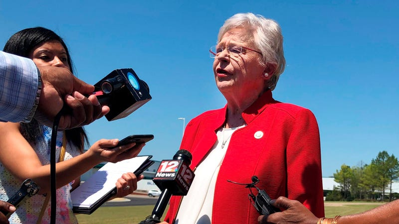 Alabama Gov. Kay Ivey discussing a bill that would virtually outlaw abortion in her state on May 15, 2019, a bill she eventually signed into law. Now, she is apologizing after audio has surfaced recounting her having worn blackface while a college student in the 1960s.