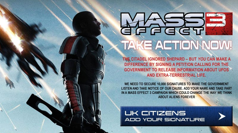 Illustration for article titled Mass Effect Publisher Wants You to Make the UK Government 'Fess Up That Aliens Exist