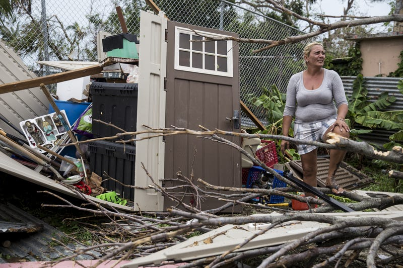 A resident surveys the damage on her property after Hurricane Maria made landfall Sept. 21, 2017, in the Guaynabo suburb of San Juan, Puerto Rico. The majority of the island has lost power, in San Juan, many are left without running water or cellphone service. (Alex Wroblewski/Getty Images)