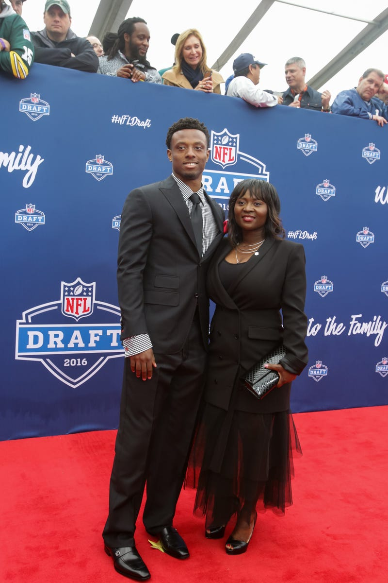 Eli Apple and his mother, Annie Apple, at the 2016 NFL Draft on April 28, 2016, in ChicagoKena Krutsinger/Getty Images