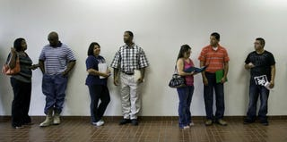 Job seekers line up at a San Antonio oil-and-gas company. (Bloomberg/Getty Images)