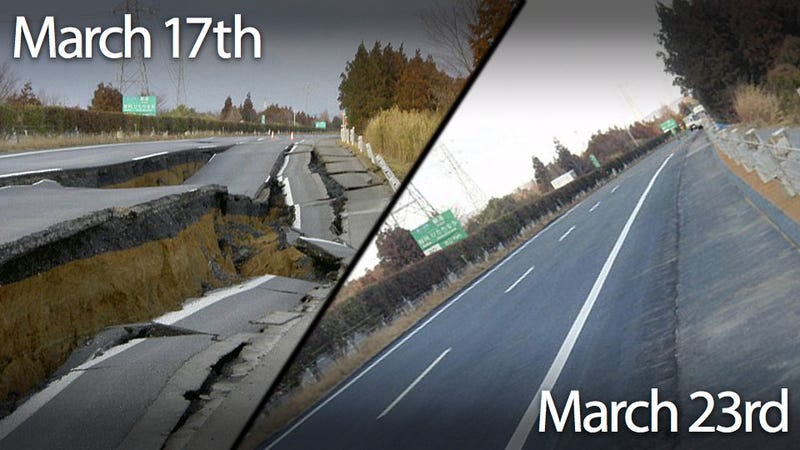 Illustration for article titled Japan fixed this quake-damaged road in just six days