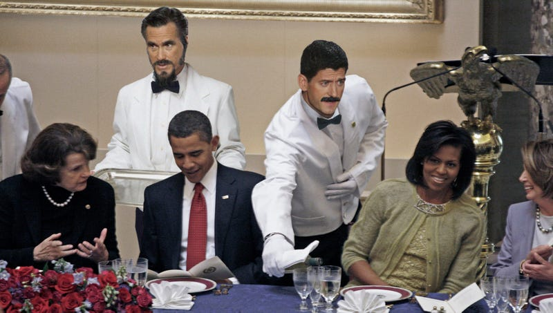 Illustration for article titled Romney, Ryan Sneak Into DNC While Posing As Caterers