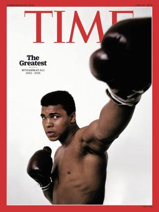 "From Time magazine: ""The image of Muhammad Ali that appears on Time's new cover commemorating the boxing legend was taken in 1963 by Philippe Halsman, one of the most prolific portrait photographers of the 20th century.""Time magazine"