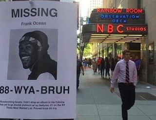 "A Frank Ocean ""missing"" flier posted on a New York City streetInstagram"