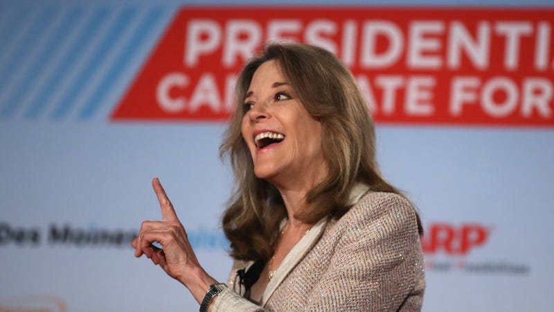 Democratic presidential hopeful Marianne Williamson speaks in Sioux City, Iowa on July 19, 2019.