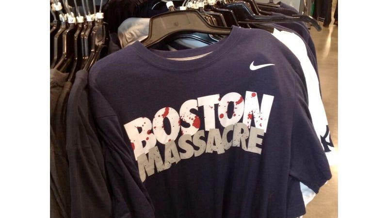 "Illustration for article titled Nike Pulls Blood-Spattered ""Boston Massacre"" T-shirts"