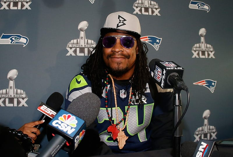 Marshawn Lynch speaking during a Super Bowl XLIX media availability in Chandler, Ariz., on Jan. 28, 2015.Christian Petersen/Getty Images