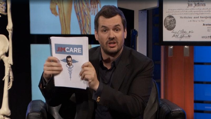 Illustration for article titled Jim Jefferies has a global prescription for America's health care mess
