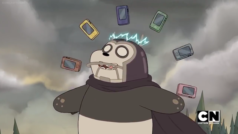 Panda wielding his newfound powers of magnetism.