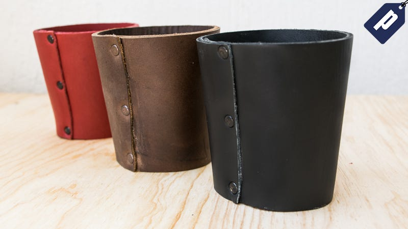 Illustration for article titled Save 50% On This Leather Pint Sleeve and Avoid a Sweaty Glass All Summer