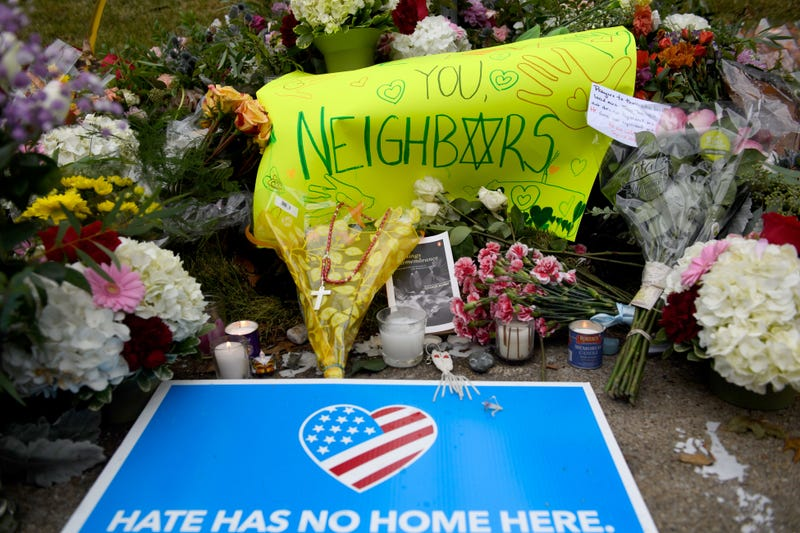 Flowers and cards sit at a makeshift memorial down the street from the site of the mass shooting that killed 11 people and wounded 6 at the Tree Of Life Synagogue on Oct. 28, 2018 in Pittsburgh, Pennsylvania. Suspected gunman Richard Bowers, 46, has been charged with 29 federal counts in the mass shooting that police say was fueled by antisemitism.