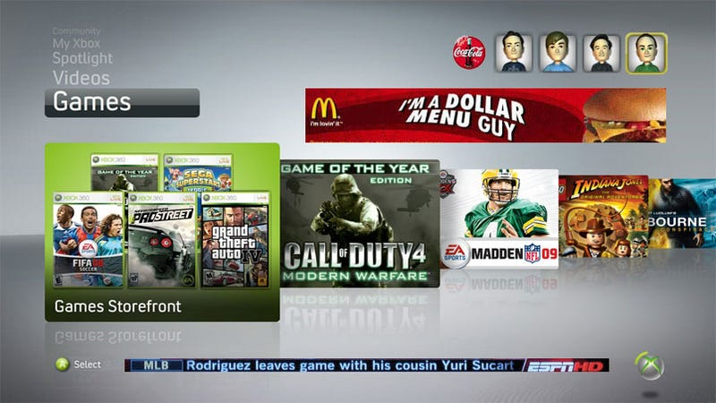 Illustration for article titled Ads Coming To Xbox 360 Dashboard?