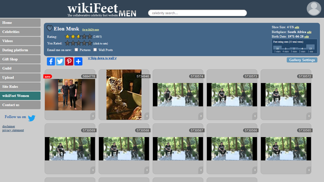 Elon Musk s Feet Are Not Popular on WikiFeet, the Wiki for Foot Fetishists