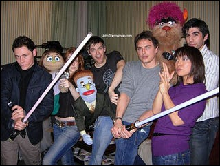 Illustration for article titled Inexplicably Awesome Geek Image Of The Day: Torchwood With Muppets and Lightsabers!
