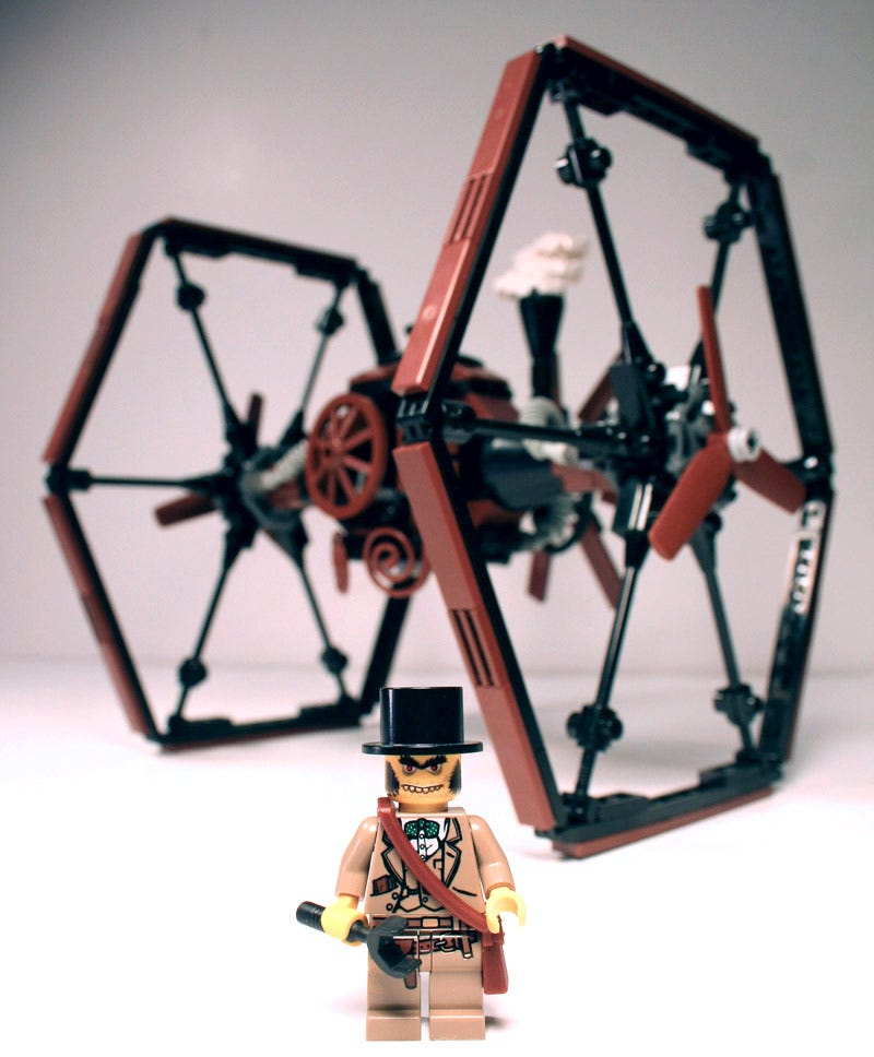 Illustration for article titled Steampunk LEGO TIE Fighter Beats the Crap Out of X-Wing, Shows Amazing Vision of Star Wars Universe