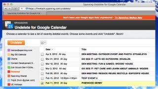 Illustration for article titled Spanning Undelete Rescues Google Apps Calendar Events