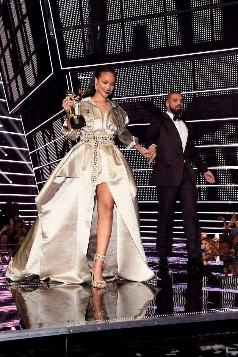 Rihanna and rapper Drake walk offstage during the 2016 MTV Video Music Awards at Madison Square Garden on Aug. 28, 2016, in New York City. Kevin Mazur/WireImage