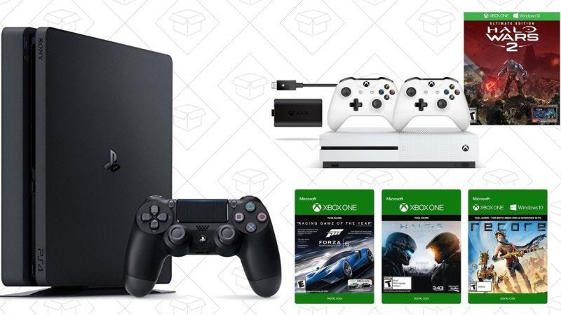PS4 Slim + Cómics Digitales, $229 | Pack Xbox One S 500GB, $240 | Pack de Xbox One S 1TB, $290