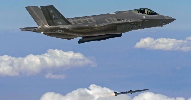A F-35A from the 34th FS launches an AIM-120 air-to-air missile during a Combat Archer exercise. USAF photo by Scott Wolff