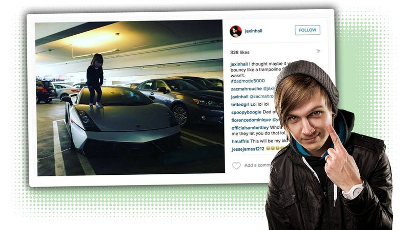 Illustration for article titled Semi-Famous Idiot Gets Kid To Bounce On The Hood Of A Lambo For Instagram