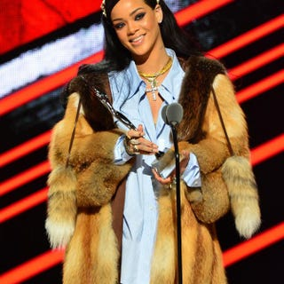 Singer Rihanna receives the Rock Star Award during the Black Girls Rock! 2016 show at the New Jersey Performing Arts Center on April 1, 2016, in Newark.Brian Killian/Getty Images