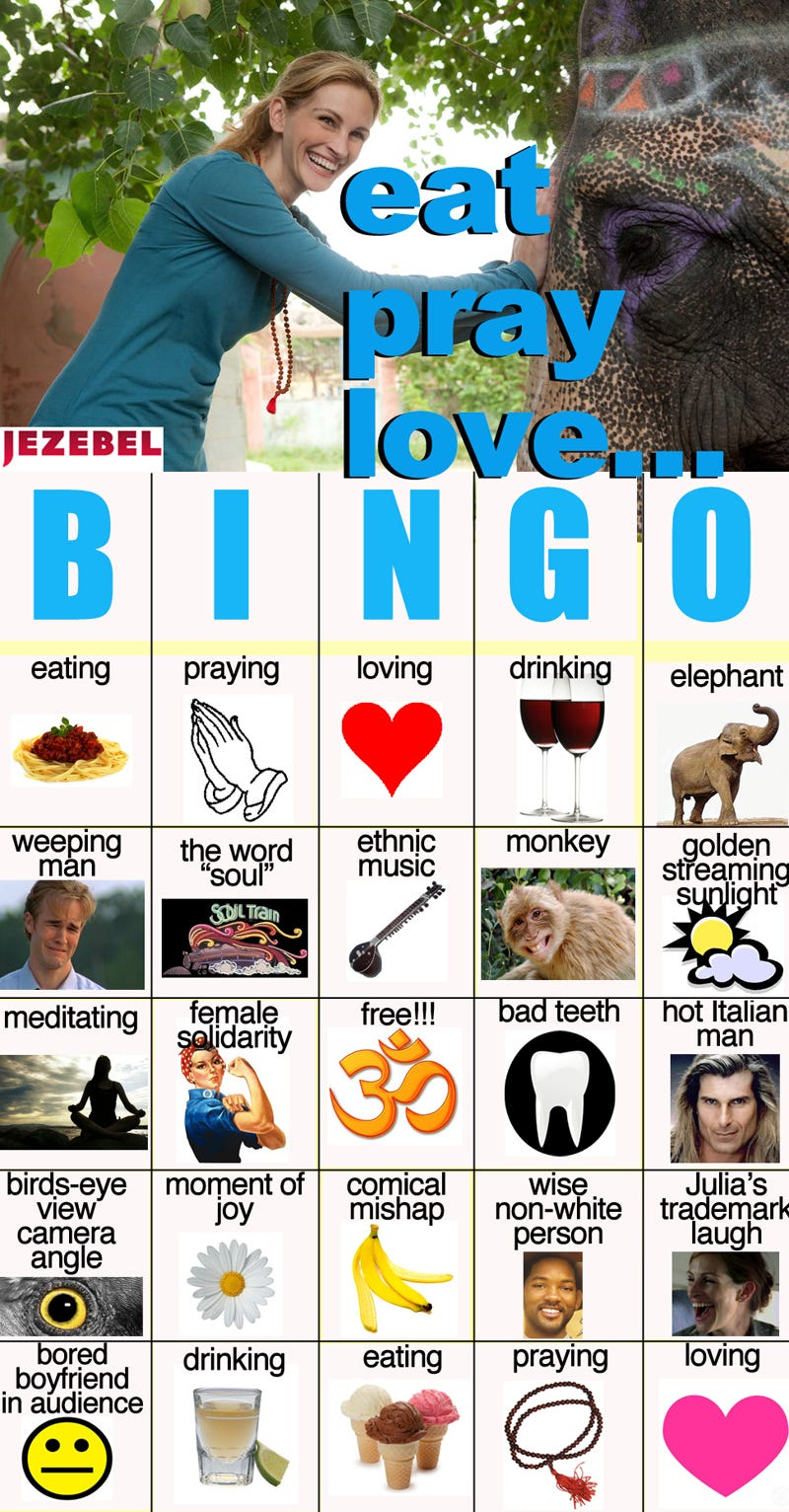 Illustration for article titled Play Eat, Pray, Love Bingo!