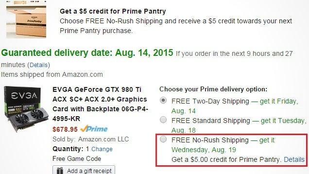 Get 5 Credit Toward Amazon Prime Pantry When You Choose NoRush