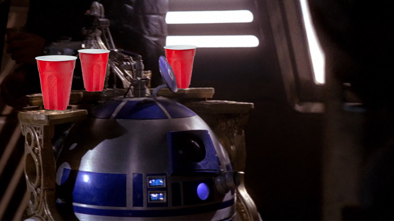Artist's impression of the Star Wars Solo cups in action.