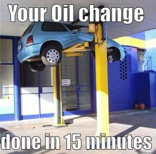 Hmmm. Oil change AND a sandwich!
