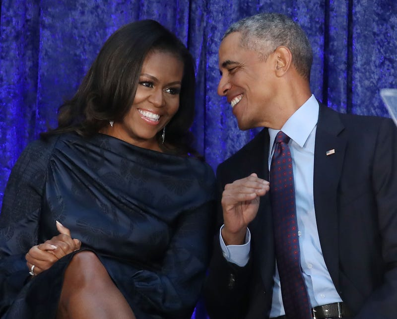 First lady Michelle Obama and former President Barack Obama participate in the unveiling of their official portraits during a ceremony at the Smithsonian's National Portrait Gallery on Feb. 12, 2018, in Washington, D.C.  (Mark Wilson/Getty Images)