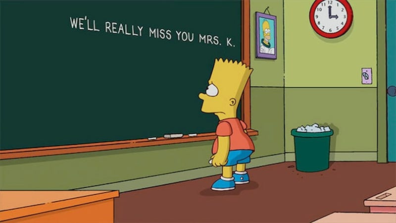 Illustration for article titled The Simpsons Pay Tribute to the Late Mrs. Krabappel and Now I'm Crying
