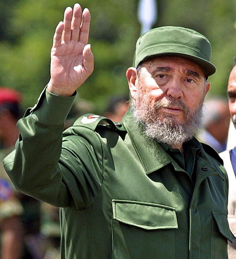 Then-Cuban President Fidel Castro arrives in Santa Elena de Uairen, Venezuela, on Aug. 13, 2001.ANDREW ALVAREZ/AFP/Getty Images