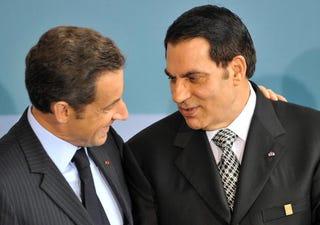 French President Sarkozy with Tunisia's Ben Ali