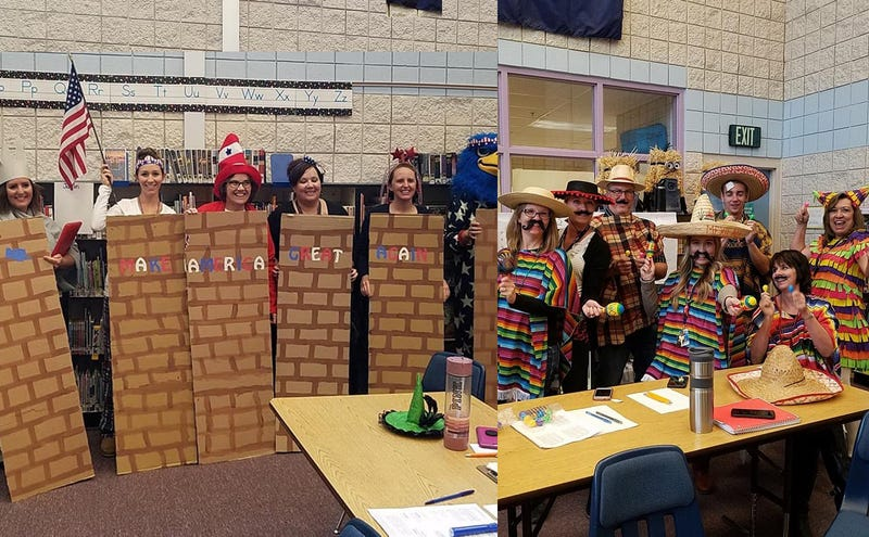 Image result for Elementary School Teachers Dressed Up as Trump's Proposed Border Wall and Mexicans for Halloween