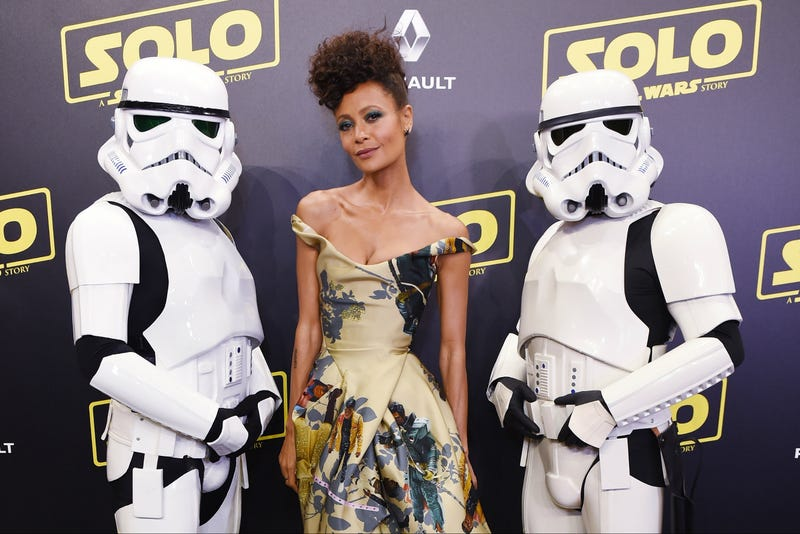 Thandie Newton and Stormtroopers attend the Solo: A Star Wars Story party at the Carlton Beach during the 71st annual Cannes Film Festival on May 15, 2018, in Cannes, France.