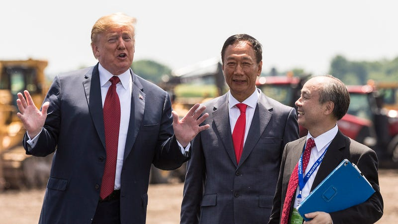 President Trump with Foxconn CEO Terry Gou and Masayoshi Son, chairman and CEO of SoftBank Group at the groundbreaking for the Foxconn factory on June 28, 2018 in Mt Pleasant, Wisconsin.