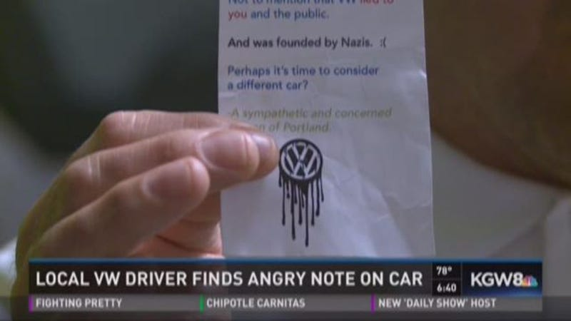 That Angry Wise-Ass Portland Note Left On A VW Diesel Was Unfortunately Real