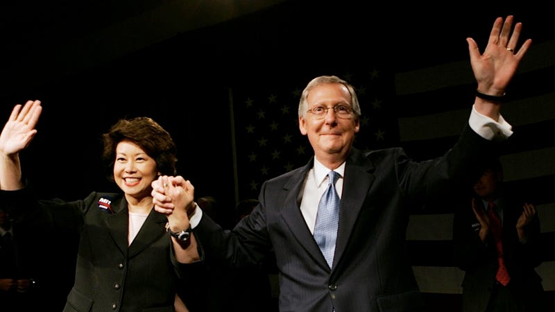 Illustration for article titled Mitch McConnell Is Fairly Pissed About Xenophobic Tweets Targeting His Wife Elaine Chao