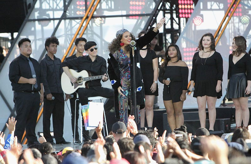 Singer Andra Day performs onstage at the Univision- and Fusion-hosted RiseUp as One concert at Cross Border Xpress on Oct. 15, 2016, in San Diego.Leon Bennett/Getty Images for Univision