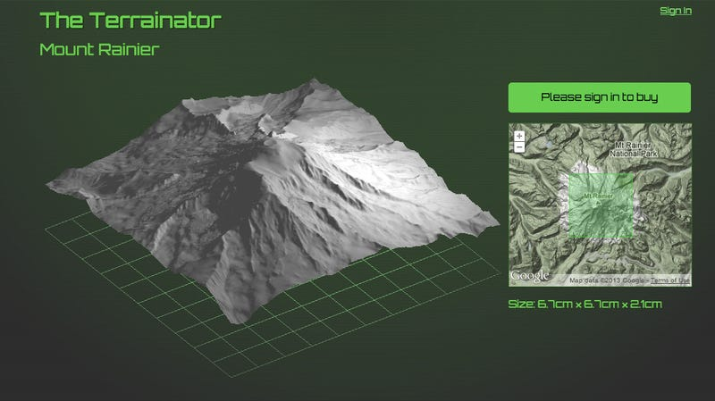 Illustration for article titled Now You Can Get Your Favorite Mountain 3D Printed
