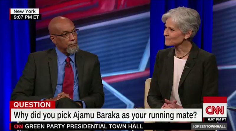 Green Party presidential and vice presidential candidates Jill Stein and Ajamu Baraka respectively participate in a CNN town hall discussion in New York City on Aug. 17, 2016.CNN screenshot