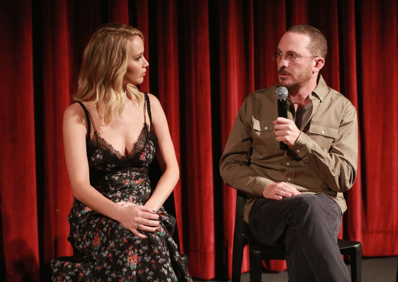 Mother! star Jennifer Lawrence and Mother! director Darren Aronofsky (Photo: Robin Marchant/Getty Images)