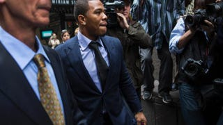 Ray Rice as he arrived for a hearing Nov. 5, 2014, in New York City regarding his suspension from the NFL after being caught beating his then-fiancee in an Atlantic City, N.J., casino elevator in February 2014. Andrew Burton/Getty Images