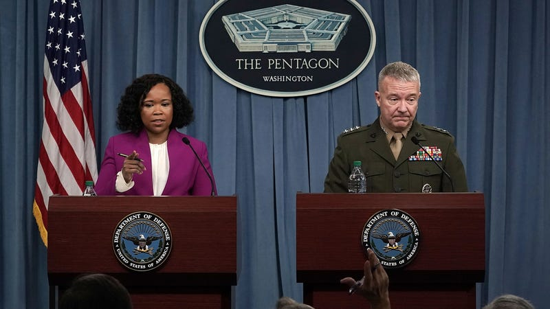 Pentagon Chief Spokesperson Dana W. White and Joint Staff director Lt. Gen. Kenneth F. McKenzie Jr., at a press briefing on Saturday.